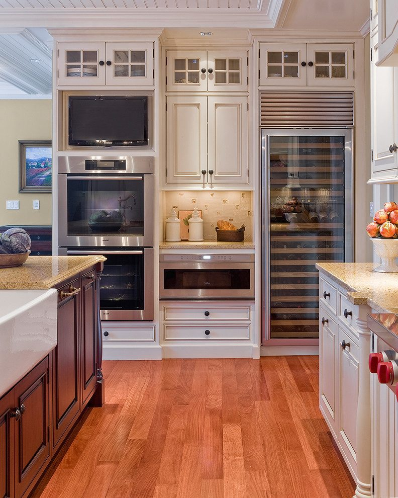 modern kitchen with wine fridge